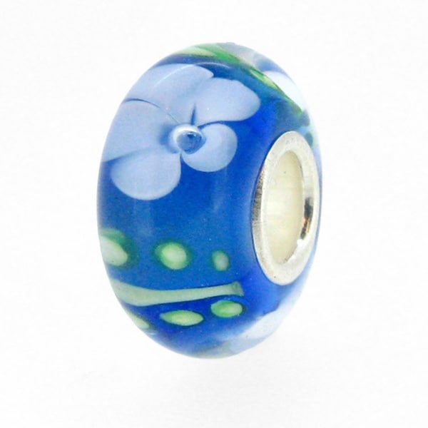 Queenberry Sterling Silver Round Murano Flower Blue Lampwork Glass European Bead Charm 15265439