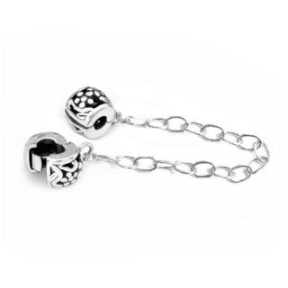 Queenberry Sterling Silver Stopper Safety Chain European Bead Charm