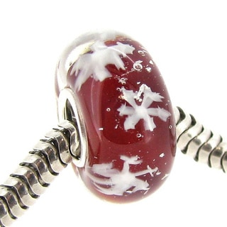 Queenberry Sterling Silver Round Snowflake Red Glass Christmas Murano Lampwork European Bead Charm