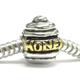 Queenberry Gold Overlay Sterling Silver Honey Bee Pot European Bead Charm