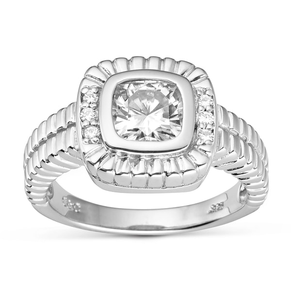 Charles & Colvard Created Moissanite Sterling Silver Cushion-cut Moissanite Ring