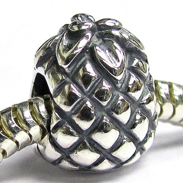 Queenberry Sterling Silver Fruit Pineapple European Bead Charm 15265492