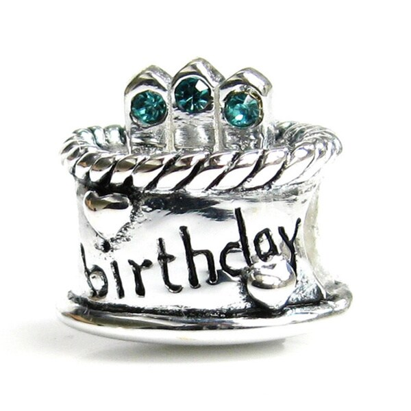 Queenberry Sterling Silver December Birthday Cake with Blue Cubic Zirconia Candle European Bead Charm