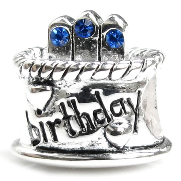 Queenberry Sterling Silver September Birthday Cake with Blue Cubic Zirconia Candle European Bead Charm