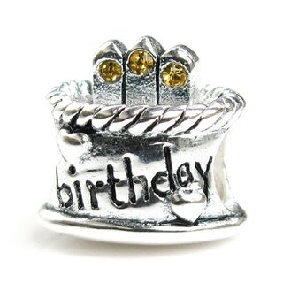 Queenberry Sterling Silver November Birthday Cake with Golden Cubic Zirconia Candle European Bead Charm