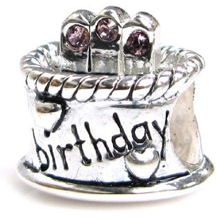 Queenberry Sterling Silver June Birthday Cake with Pink Cubic Zirconia Candle European Bead Charm