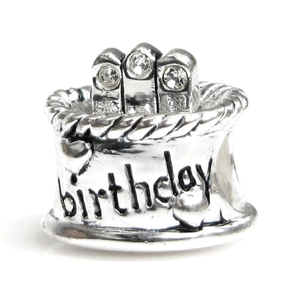 Queenberry Sterling Silver April Birthday Cake with Cubic Zirconia Candle European Bead Charm