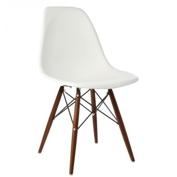 retro molded eames style white plastic shell chair with dark walnut