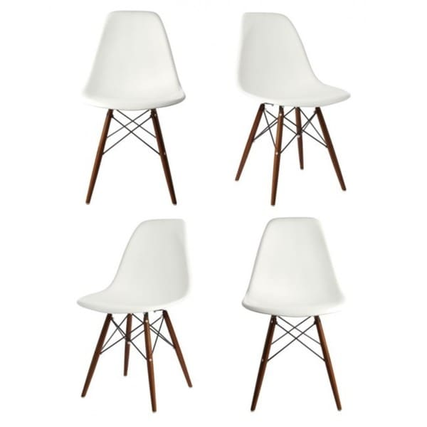 Contemporary Retro Molded Eames Style White Accent Plastic Dining Shell Chair (Set of 4)