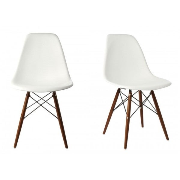 Contemporary Retro Molded Eames Style White Accent Plastic Dining Shell Chair with Dark Walnut Wood Eiffel Legs (Set of 2)