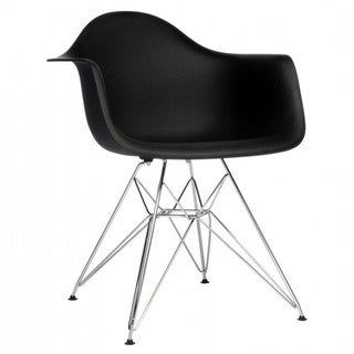 Contemporary Retro Molded Black Accent Plastic Dining Armchair