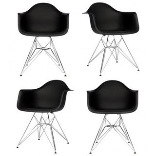 Retro Molded Black Plastic Armchairs with Steel Eiffel Legs (Set of 4)