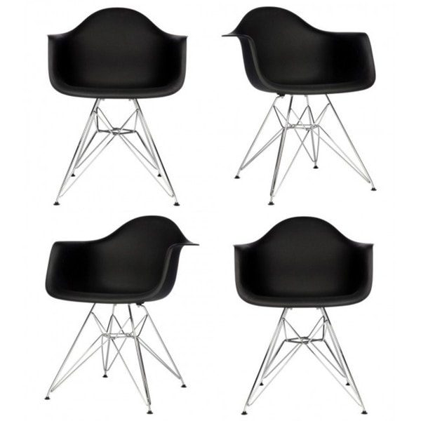 Retro Molded Black Plastic Armchairs with Steel Eiffel Legs (Set of 4)
