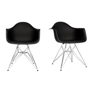 Contemporary Retro Molded Black Accent Plastic Dining Armchairs with Steel Eiffel Legs (Set of 2)