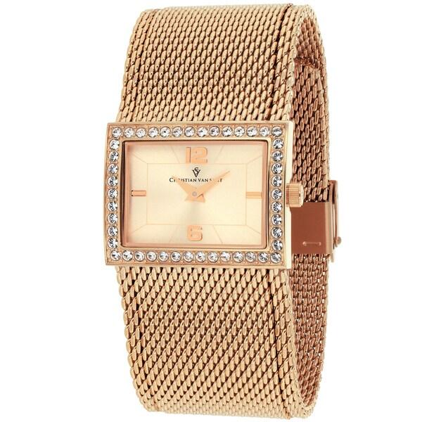 Christian Van Sant Women's CV2611 Quadro Rectangle Rose-Gold Mesh Bracelet Watch