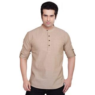 Shatranj Men's Solid Color Kurta Tunic Banded Collar Shirt (India)