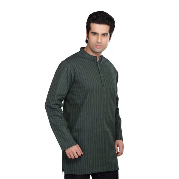Shatranj Men's Banded Collar Kurta Tunic Multi-stripe Shirt (India)