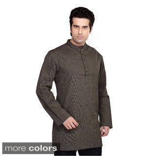 Shatranj Men's Banded Collar Kurta Tunic Thin Stripe Shirt (India)