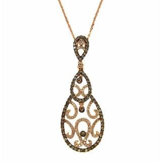 Kabella 18k Rose Gold 3/4ct TDW Diamond Filigree Teardrop Necklace (G-H, SI1-SI2)