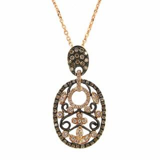 Kabella 14k Rose Gold 2/5ct TDW Diamond Oval Filigree Necklace (G-H, VS1-VS2)