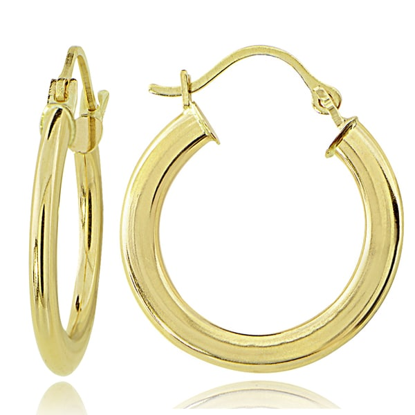 Mondevio 14K Gold 1.6mm Flat Round Hoop Earrings, 25mm