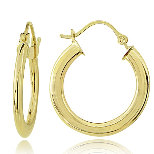 Mondevio 14K Gold 1.6mm Flat Round Hoop Earrings, 20mm