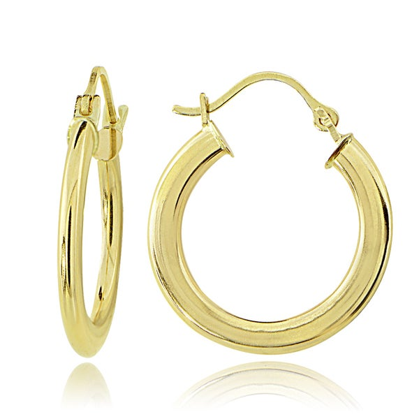 Mondevio 14K Gold 1.6mm Flat Round Hoop Earrings, 18mm