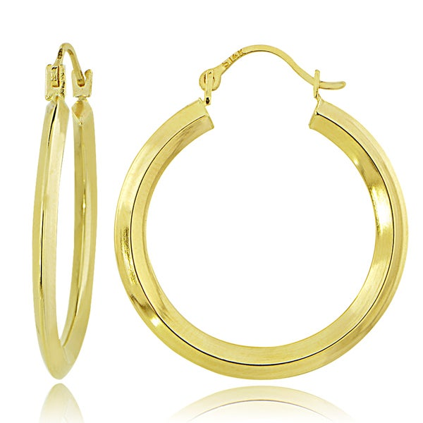 Mondevio 14K Gold 2mm Knife Edge Round Hoop Earrings, 25mm
