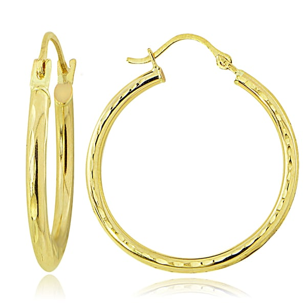 Mondevio 14K Gold 2.8mm Round Diamond-Cut Hoop Earrings, 20mm