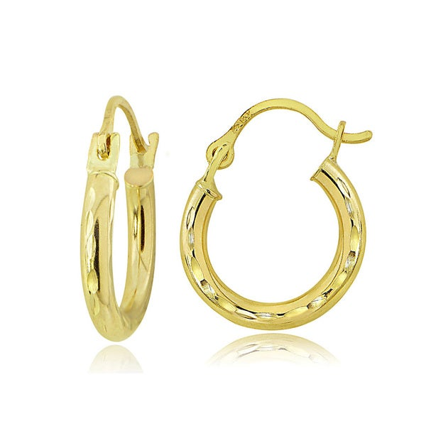 Mondevio 14K Gold 2.5mm Round Diamond-Cut Hoop Earrings, 15mm