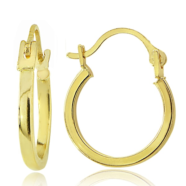 Mondevio 14K Gold 1.5mm Square Tube Hoop Earrings, 18mm