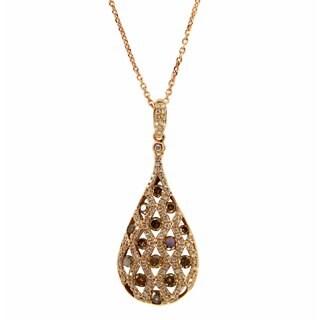 Kabella 18k Rose Gold 7/8ct TDW Brown and White Diamond Teardrop Necklace (G-H, VS1-VS2)
