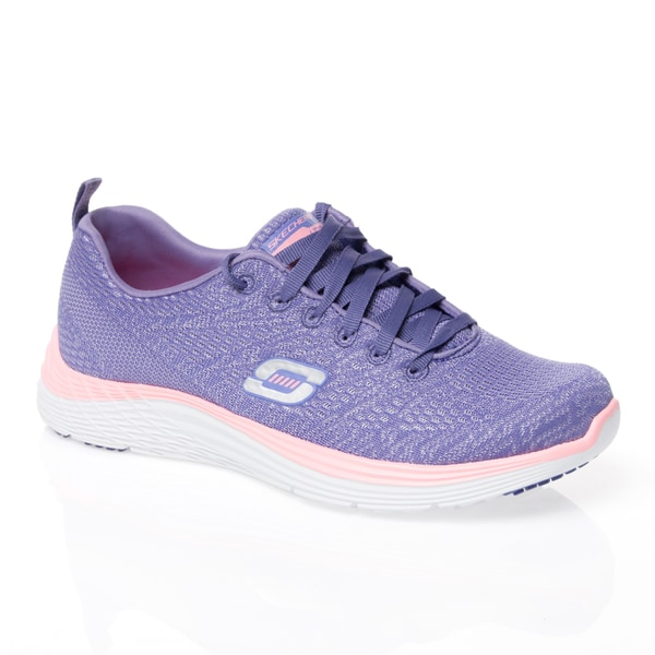 Skechers USA Sport Valeris Purple/ Pink Relaxed Fit Dual Color Skech-Knit Shoes with Air-cooled Memory Foam