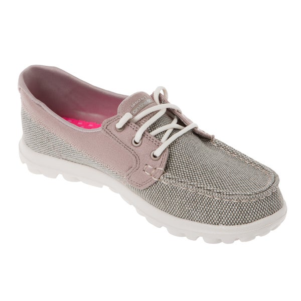 Skechers USA On The GO Scope Taupe Sparkle Tweed Moc Toe Boat Shoe
