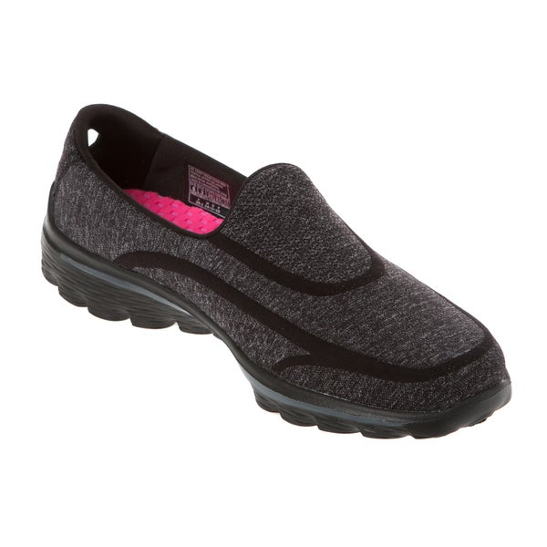 Skechers USA GO Walk 2 Black Super Sock 2 GOGA Mat Technical Walking Shoe
