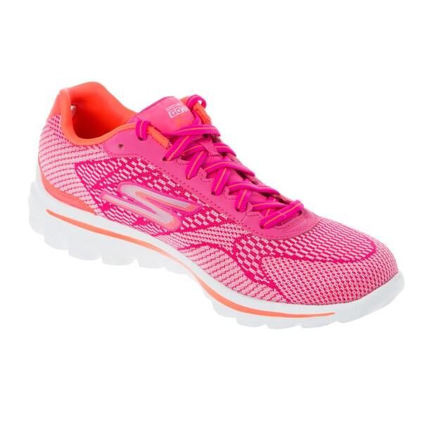 Skechers USA GO Walk 2 Hot Pink/ Orange Fuse Dual Toned Engineered Mesh Sneaker