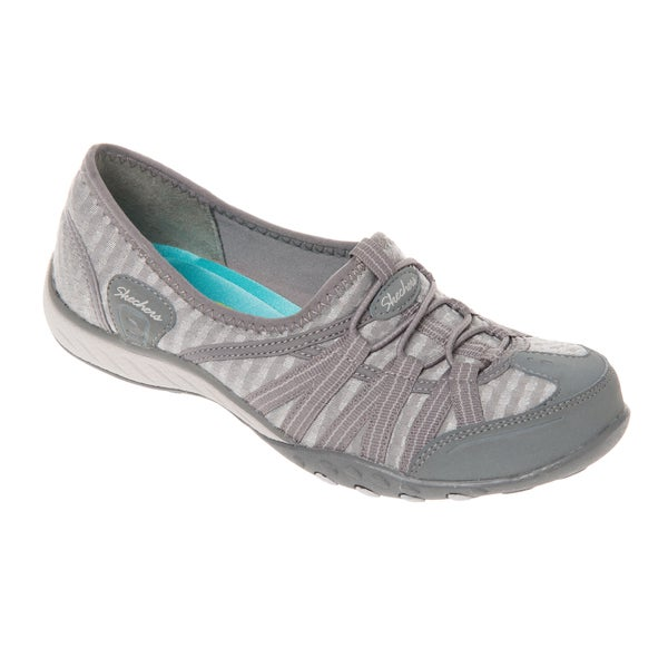 Skechers USA Active 22477 Grey Breathe Easy Basket Weave Stretch Mesh Bungee Shoes with Memory Foam