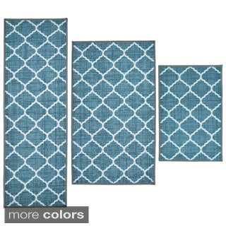 Textured Lattice 3-Piece Rug Set