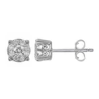 10k White Gold 1/4ct TDW Round Diamond Unity Earrings (H-I, I2-I3)