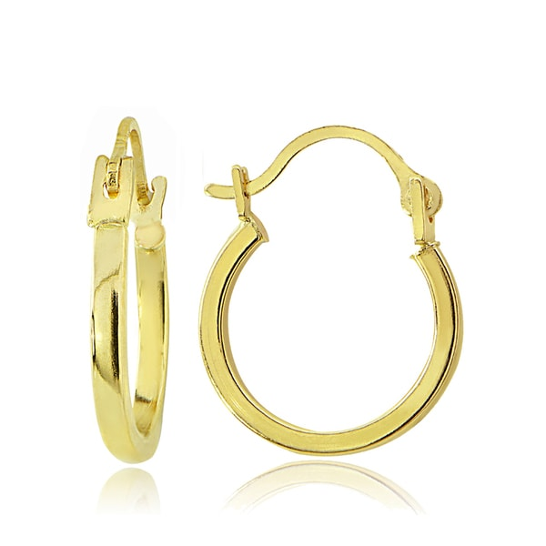Mondevio 14K Gold 1.7mm Square Tube Hoop Earrings, 15mm