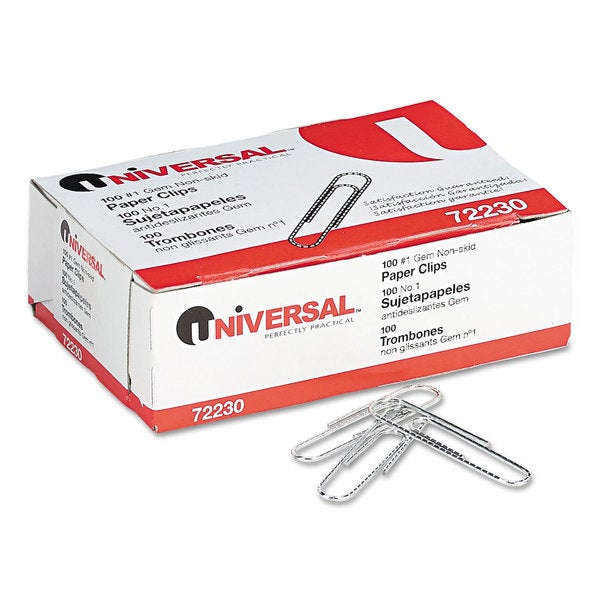 Universal Silver Nonskid Paper Clips (6 Packs of 1000)