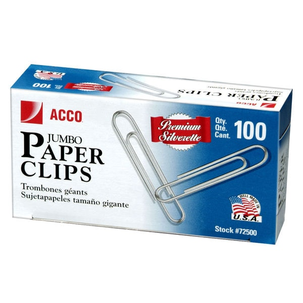 ACCO Silver Smooth Finish Premium Paper Clips