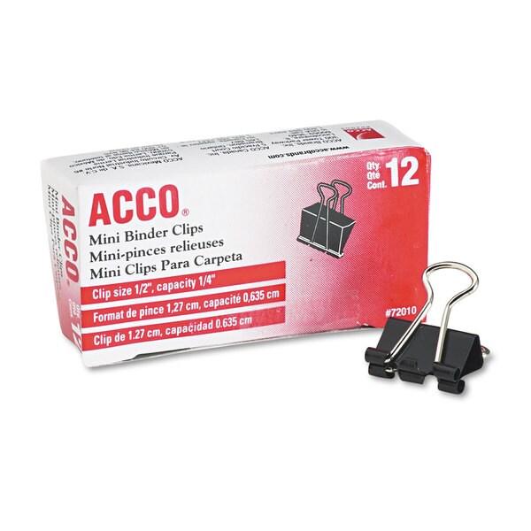 ACCO Black/Silver Mini Binder Clips (20 Packs of 12)
