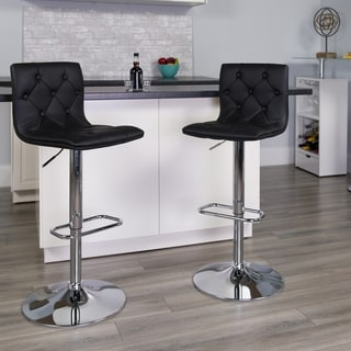 Button-tufted Upholstered Swivel Bar Stool
