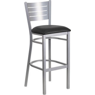 Heavy-duty Silver/Black Bar Stool