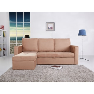 the-Hom Saleen 2-piece Cobble Stone Microsuede Sectional Storage Sofa Bed