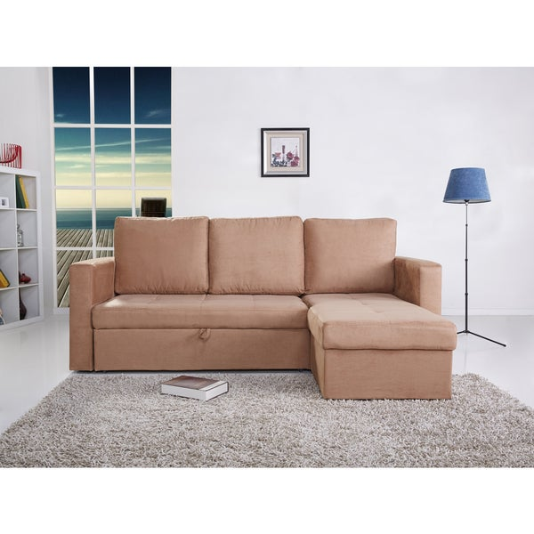 the-Hom Saleen 2-piece Cobble Stone Microsuede Right-facing Sectional Sofa Bed with Storage and Cupholders