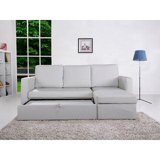 the-Hom Saleen 2-piece White Bi-cast Leather Storage Sectional Sofa Bed