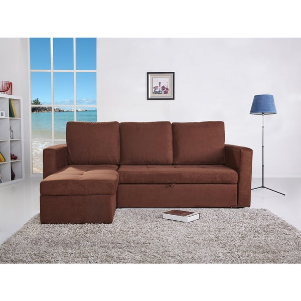 the-Hom Saleen Coffee Microsuede 2-piece Left-facing Sectional Sofa Bed with Storage and Cupholders
