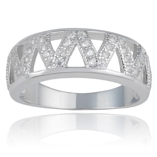 Journee Collection Sterling Silver Cubic Zirconia Zig Zag Fashion Ring